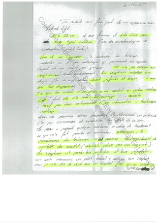 avis soins vergetures traitement paris peu noire - traitement par LED Medical Light System ® CENTRE PILOTE (LBSA) ©  Mme BA.....