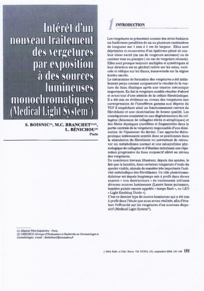 Etudes sur les vergetures : introduction - Copyright Medical Light System©
