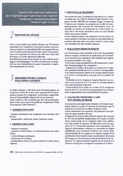 Etudes sur les vergetures : principe et première étude - Copyright Medical Light System©