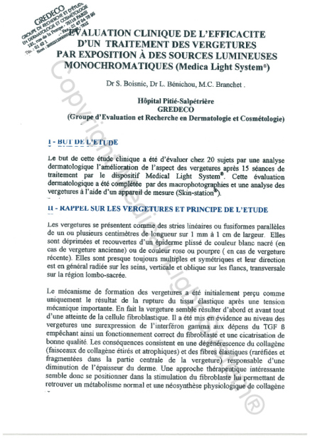 Etudes sur les vergetures : But, Principe et Rappel sur les vergetures - Copyright Medical Light System ® 2006