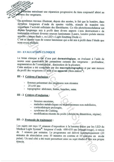 Etudes sur les vergetures : Evaluation clinique - Copyright Medical Light System© 2006