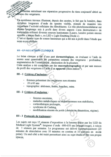 Etudes sur les vergetures : Evaluation clinique - Copyright Medical Light System© 2006