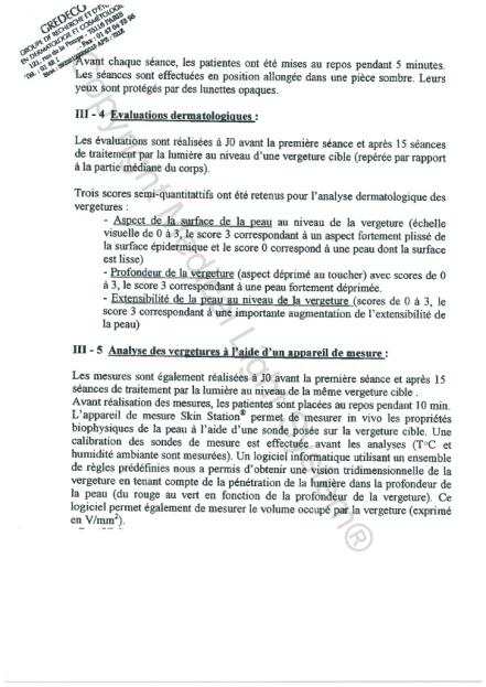 Etudes sur les vergetures : Evaluations dermatologiques - Copyright Medical Light System© 2006