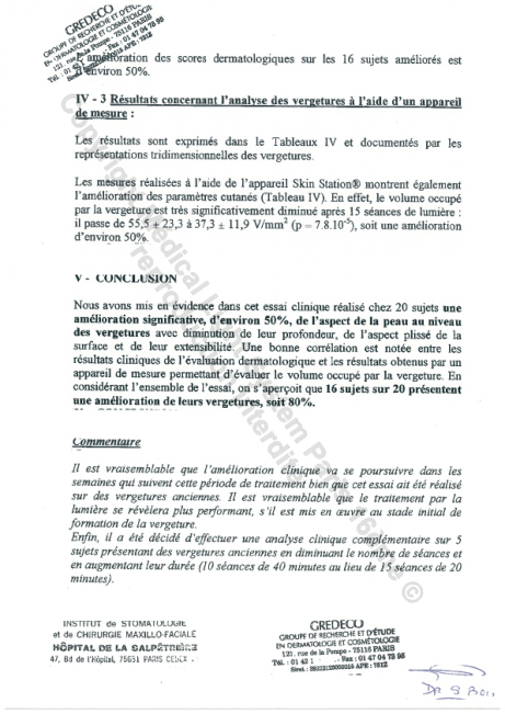 Etudes sur les vergetures : Résultats et conclusion - Copyright Medical Light System © 2006