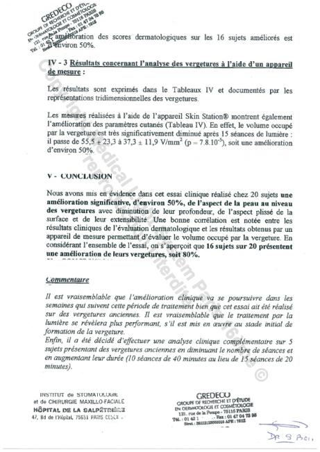 Etudes sur les vergetures : Résultats et conclusion - Copyright Medical Light System © 2006