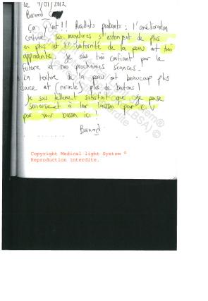 avis vergetures traitement paris - traitement par LED Medical Light System® centre Pilote © Mr C.... 2ème partie