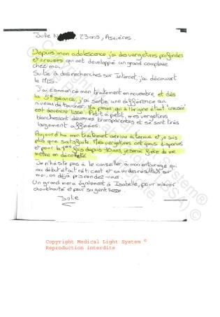 avis traitement vergetures paris - traitement par LED Medical Light System ® CENTRE PILOTE (LBSA) © Melle N.....