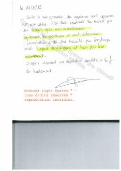 avis traitement vergetures paris - traitement par LED Medical Light System ® CENTRE PILOTE (LBSA) © Mme MI....