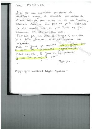 avis traitement des vergetures par LED Medical Light System® centre Pilote © Melle COU.....