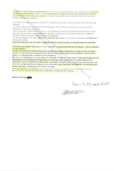 avis traitement vergetures blanches paris sur peau foncée - traitement par LED Medical Light System ® CENTRE PILOTE (LBSA) © Mme SA.....