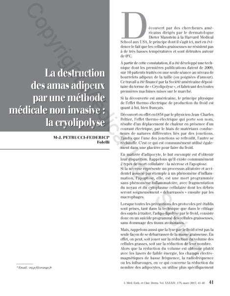 Destruction des amas adipeux : cryolipolyse par Médical Light Médical System® P1
