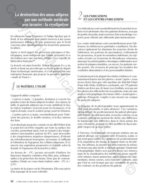 Destruction des amas adipeux : cryolipolyse par Médical Light Médical System® P2