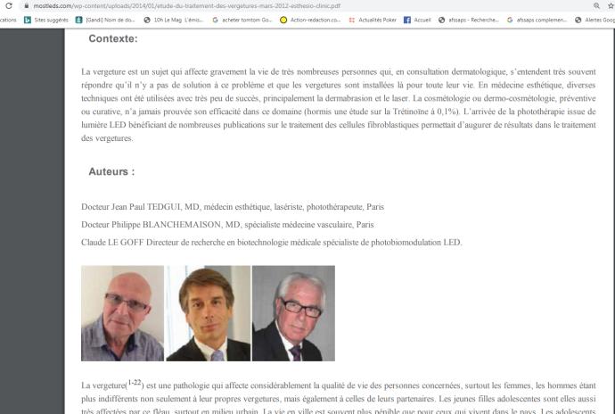 Mostled, esthesioclinic : évaluation d'un protocole de traitement des vergetures par photomodulation LED associée à la Radiofréquence (Docteur TEDGUI, monsieur LEGOFF et Docteur BLANCHEMAISON, 2012)